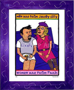 P434 - Men From Jersey Framed Print / Small (8.5 X 11) Purple Art
