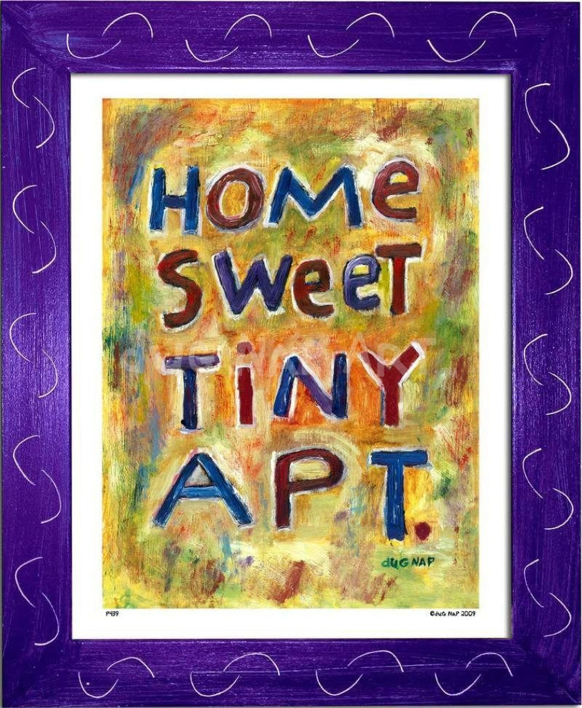 P439 - Home Sweet Tiny Apartment Framed Print / Small (8.5 X 11) Purple Art