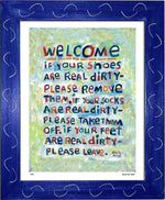 P451 - Welcome Framed Print / Small (8.5 X 11) Blue Art
