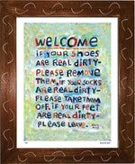 P451 - Welcome Framed Print / Small (8.5 X 11) Brown Art