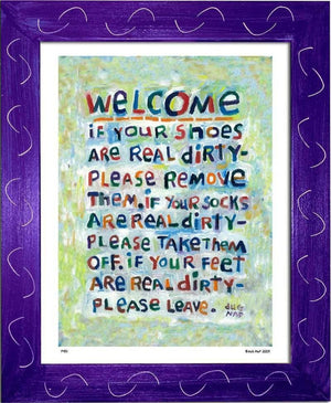 P451 - Welcome Framed Print / Small (8.5 X 11) Purple Art