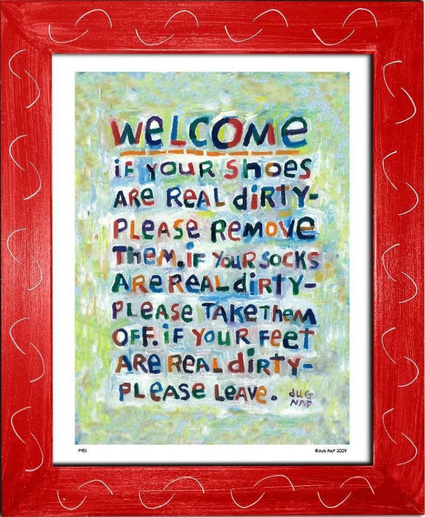 P451 - Welcome Framed Print / Small (8.5 X 11) Red Art