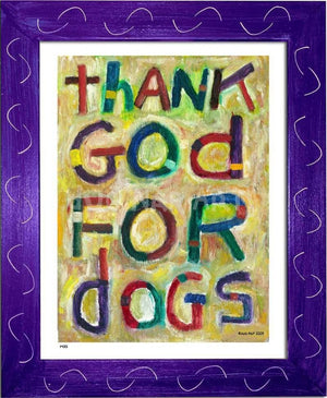 P473 - Thank God For Dogs Framed Print / Small (8.5 X 11) Purple Art