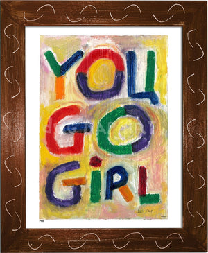 P498 - You Go Girl Framed Print / Small (8.5 X 11) Brown Art