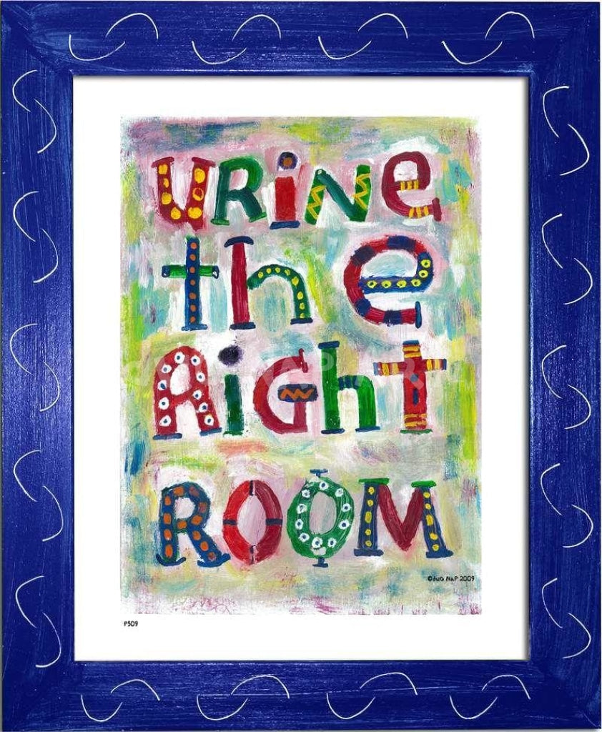 P509 - Urine The Right Room Framed Print / Small (8.5 X 11) Blue Art