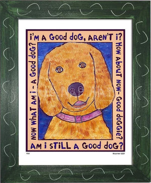 P519 - Good Dog (Golden Retriever) Framed Print / Small (8.5 X 11) Green Art