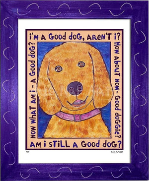 P519 - Good Dog (Golden Retriever) Framed Print / Small (8.5 X 11) Purple Art