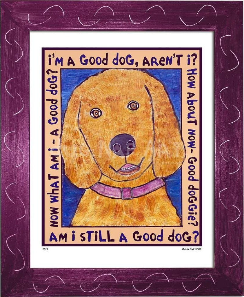 P519 - Good Dog (Golden Retriever) Framed Print / Small (8.5 X 11) Violet Art