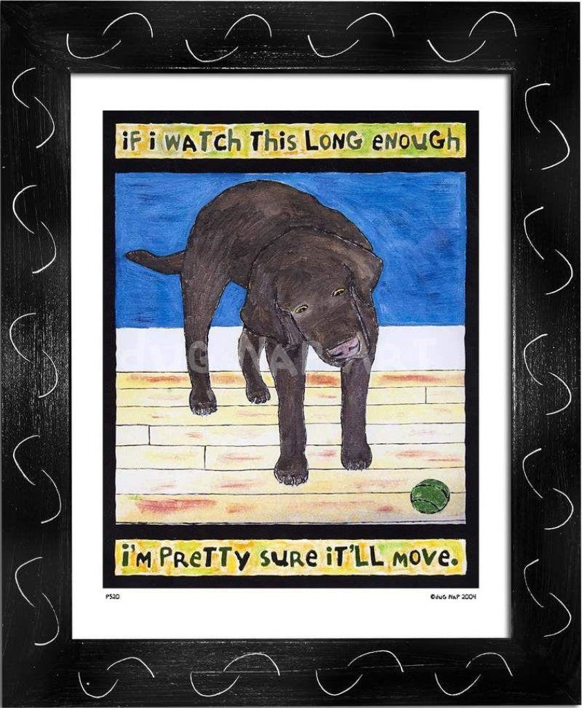 P520 - Lab Watching Ball (Chocolate) Framed Print / Small (8.5 X 11) Black Art