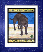 P520 - Lab Watching Ball (Chocolate) Framed Print / Small (8.5 X 11) Blue Art