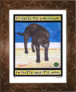 P520 - Lab Watching Ball (Chocolate) Framed Print / Small (8.5 X 11) Brown Art