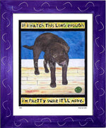 P520 - Lab Watching Ball (Chocolate) Framed Print / Small (8.5 X 11) Purple Art