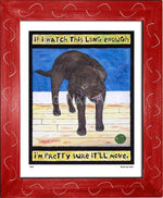 P520 - Lab Watching Ball (Chocolate) Framed Print / Small (8.5 X 11) Red Art