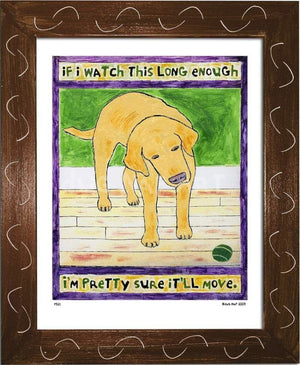 P521 - Lab Watching Ball (Yellow) Framed Print / Small (8.5 X 11) Brown Art