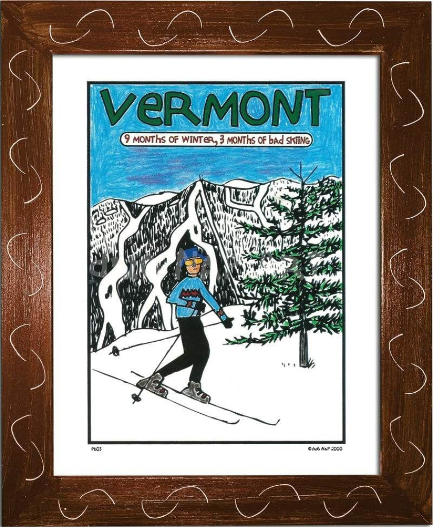 P603 - Vermont 9 Months Of Winter Framed Print / Small (8.5 X 11) Brown Art
