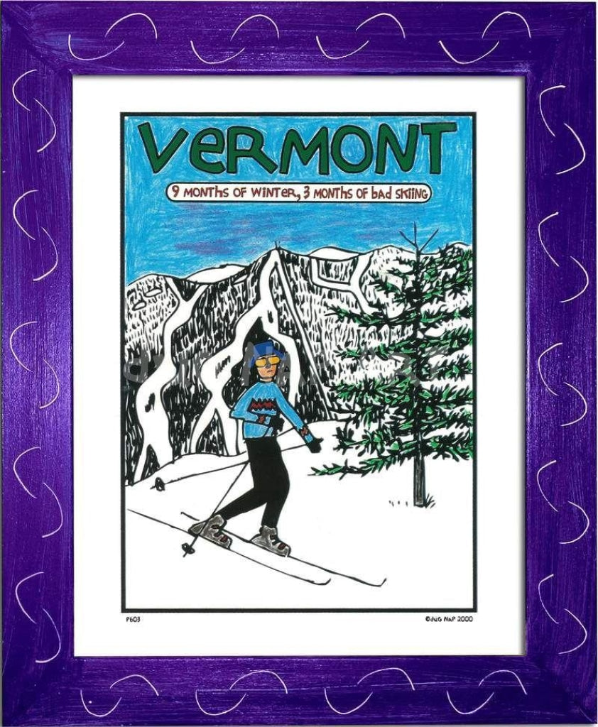 P603 - Vermont 9 Months Of Winter Framed Print / Small (8.5 X 11) Purple Art