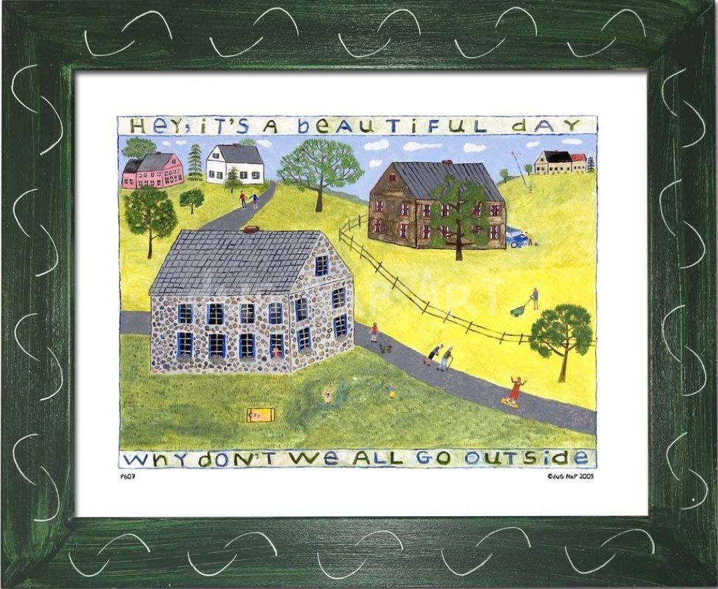P607 - Its A Beautiful Day Framed Print / Small (8.5 X 11) Green Art