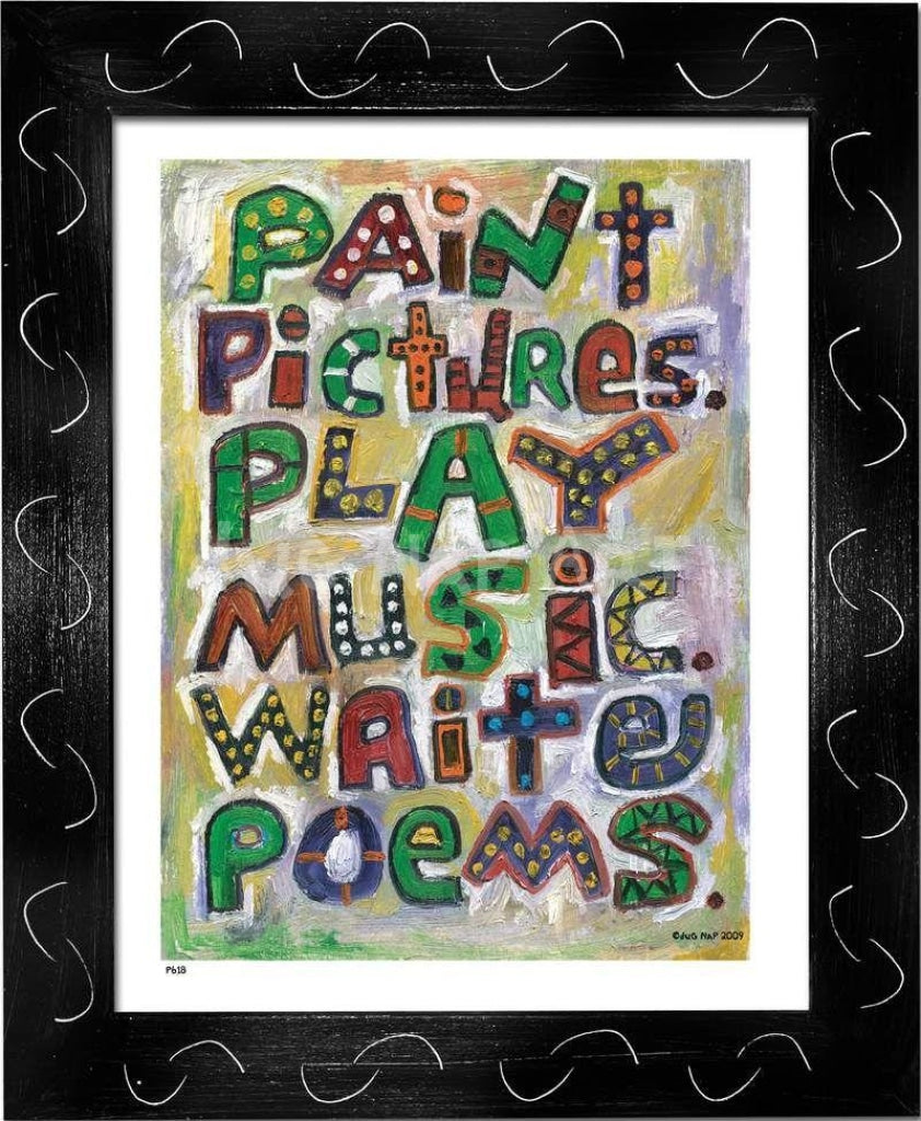 P618 - Pictures Music Poems Framed Print / Small (8.5 X 11) Black Art