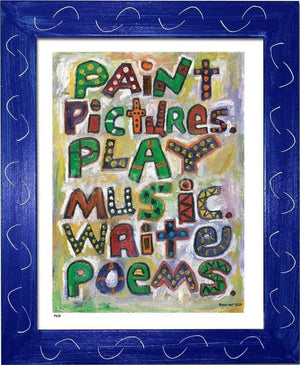 P618 - Pictures Music Poems Framed Print / Small (8.5 X 11) Blue Art