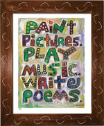 P618 - Pictures Music Poems Framed Print / Small (8.5 X 11) Brown Art
