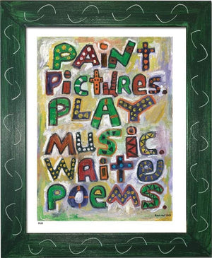 P618 - Pictures Music Poems Framed Print / Small (8.5 X 11) Green Art