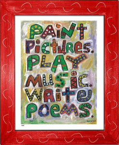 P618 - Pictures Music Poems Framed Print / Small (8.5 X 11) Red Art