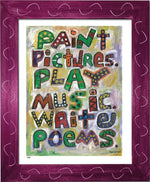 P618 - Pictures Music Poems Framed Print / Small (8.5 X 11) Violet Art