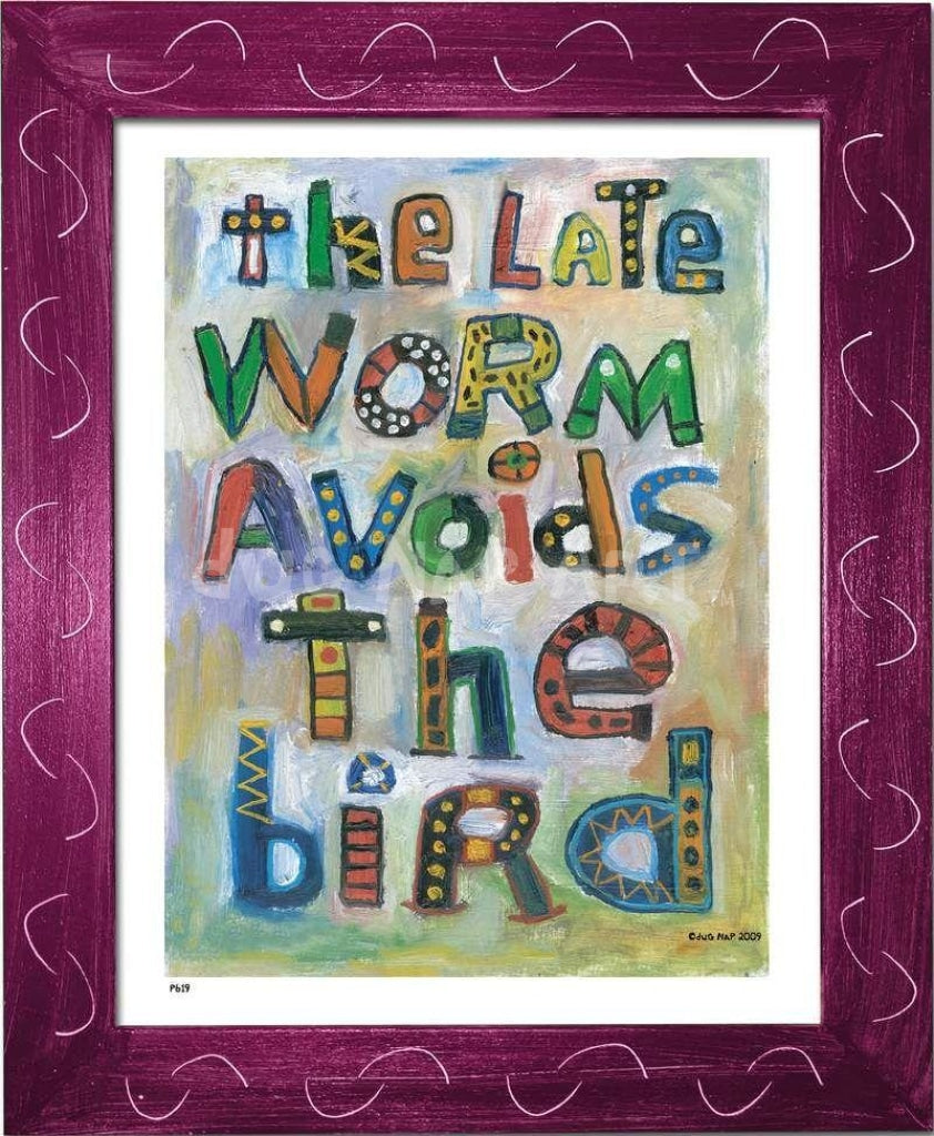 P619 - Late Worm Avoids The Bird Framed Print / Small (8.5 X 11) Violet Art