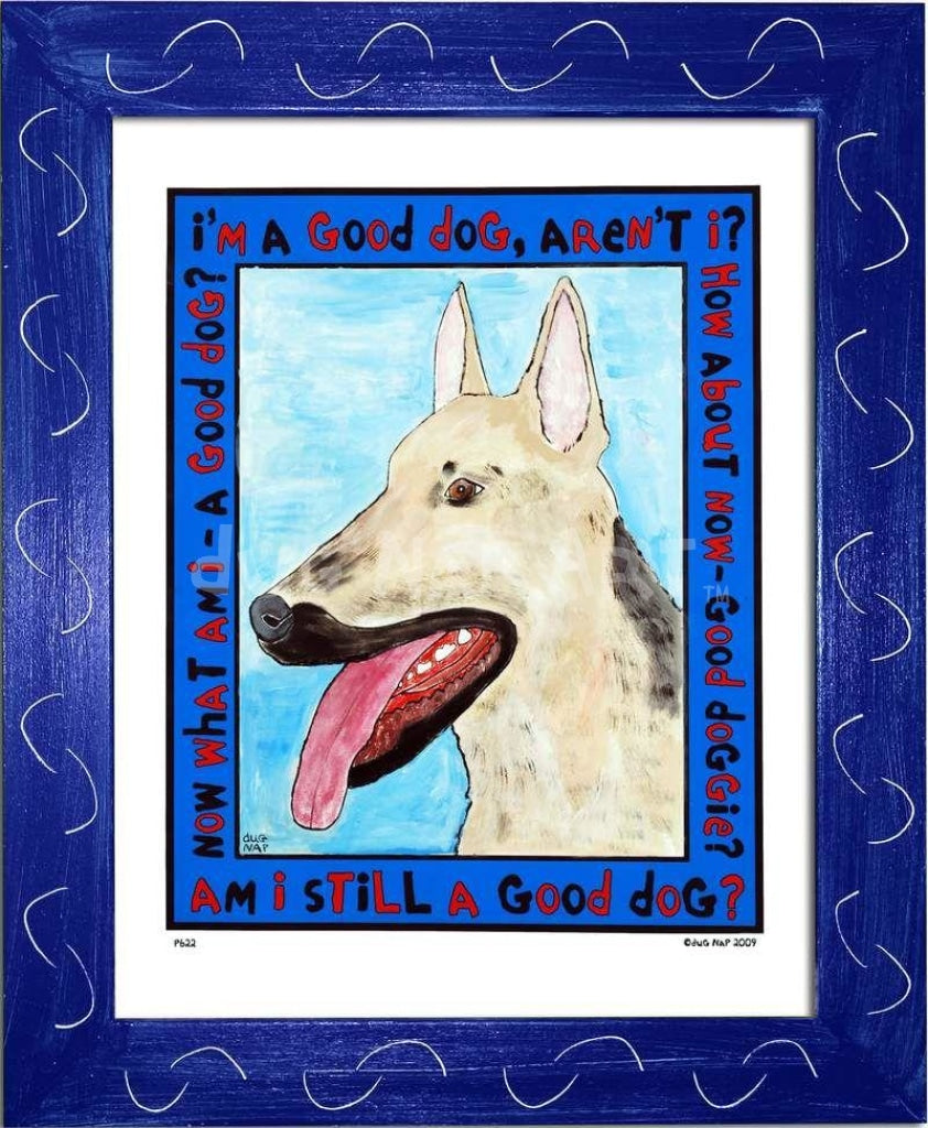 P622 - Good Shepherd Framed Print / Small (8.5 X 11) Blue Art