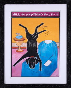 P638 Anything For Food 16x20 Canvas Print Framed w/ Mat - dug Nap Art
