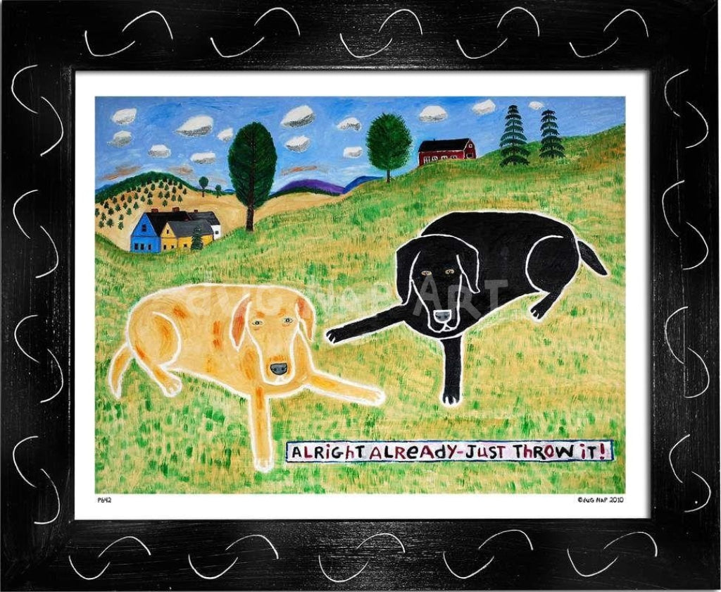 P642 - Just Throw It! (Black Lab) - dug Nap Art