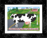 P644 - Vermont Cow In The Road Framed Print / Small (8.5 X 11) Black Art