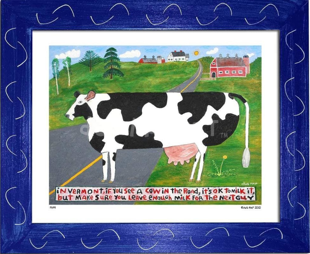 P644 - Vermont Cow In The Road Framed Print / Small (8.5 X 11) Blue Art