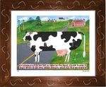 P644 - Vermont Cow In The Road Framed Print / Small (8.5 X 11) Brown Art