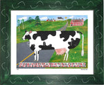 P644 - Vermont Cow In The Road Framed Print / Small (8.5 X 11) Green Art