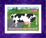P644 - Vermont Cow In The Road Framed Print / Small (8.5 X 11) Purple Art