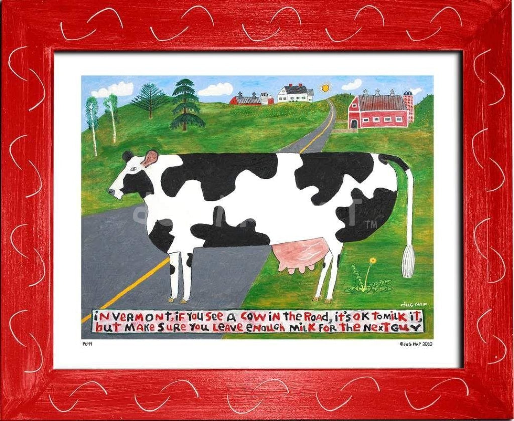 P644 - Vermont Cow In The Road Framed Print / Small (8.5 X 11) Red Art