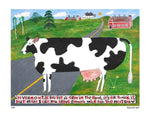 P644 - Vermont Cow In The Road Unframed Print / Small (8.5 X 11) No Frame Art