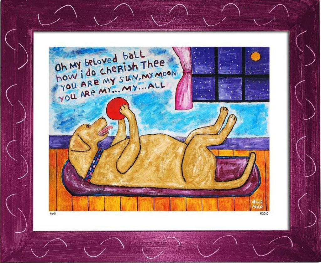 P645 - My Beloved Ball (Yellow Lab) Framed Print / Small (8.5 X 11) Violet Art