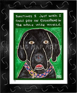 P648 - Dog Pee (Black Lab) Framed Print / Small (8.5 X 11) Black Art