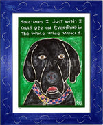 P648 - Dog Pee (Black Lab) Framed Print / Small (8.5 X 11) Blue Art