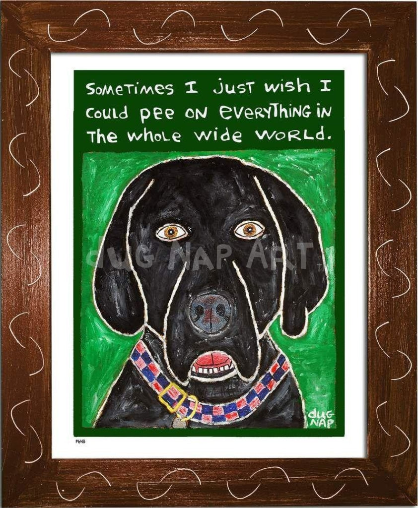P648 - Dog Pee (Black Lab) Framed Print / Small (8.5 X 11) Brown Art