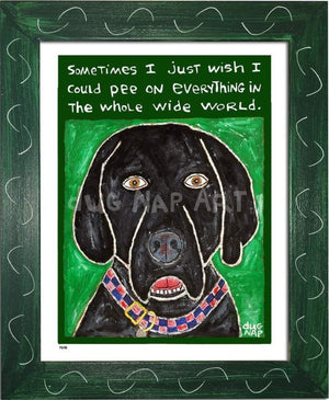 P648 - Dog Pee (Black Lab) Framed Print / Small (8.5 X 11) Green Art