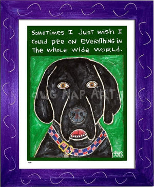 P648 - Dog Pee (Black Lab) Framed Print / Small (8.5 X 11) Purple Art