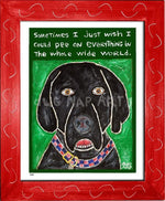 P648 - Dog Pee (Black Lab) Framed Print / Small (8.5 X 11) Red Art