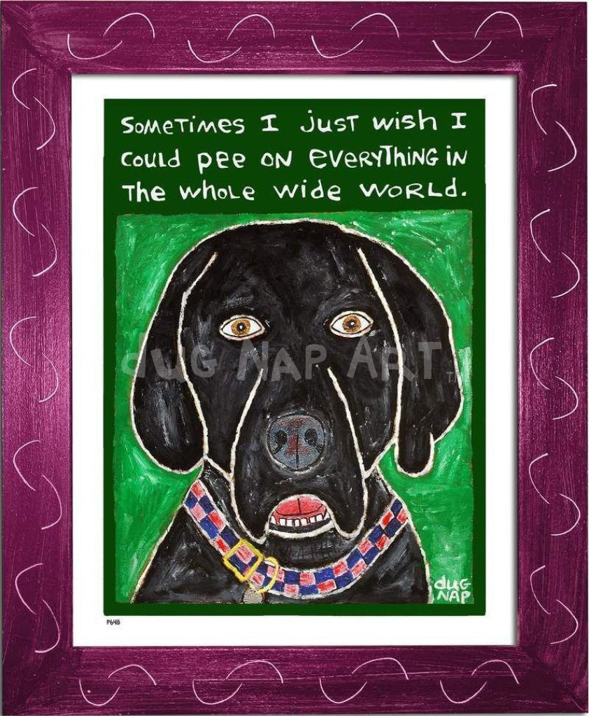 P648 - Dog Pee (Black Lab) Framed Print / Small (8.5 X 11) Violet Art