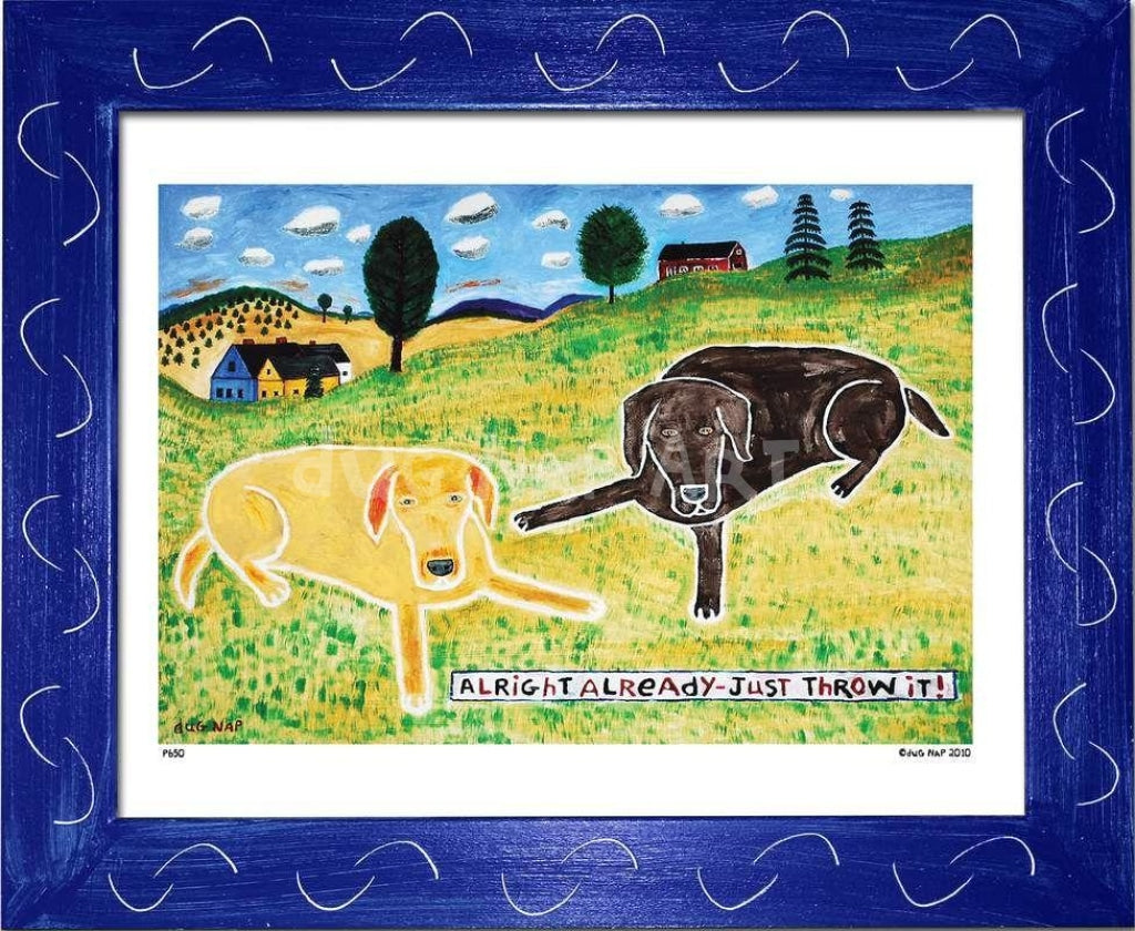 P650 - Just Throw It (Chocolate Lab) Framed Print / Small (8.5 X 11) Blue Art