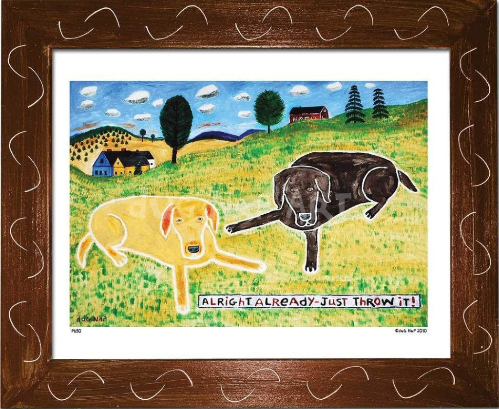 P650 - Just Throw It (Chocolate Lab) Framed Print / Small (8.5 X 11) Brown Art