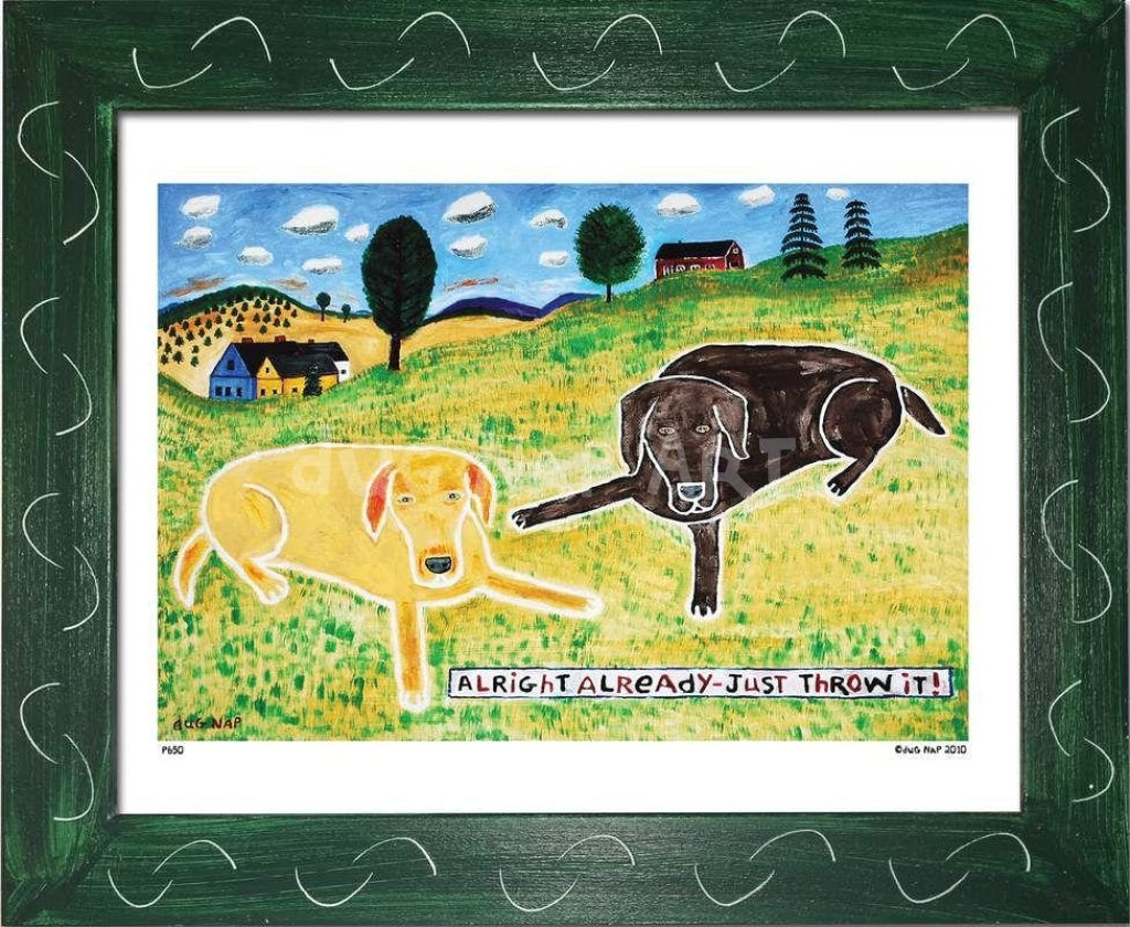 P650 - Just Throw It (Chocolate Lab) Framed Print / Small (8.5 X 11) Green Art