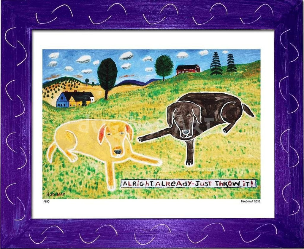 P650 - Just Throw It (Chocolate Lab) Framed Print / Small (8.5 X 11) Purple Art